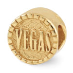 Double Sided Vegas Chip Charm in 14K Gold Plated Sterling Silver