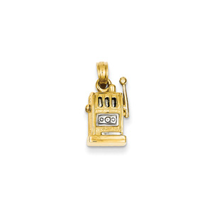 3-D Moveable Slot Machine Pendant in 14K Yellow Gold and White Rhodium