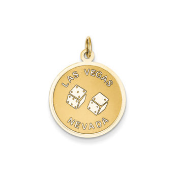 Las Vegas Nevada Disk Charm in 14 Karat Yellow Gold