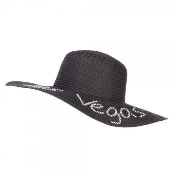 Las Vegas Rhinestones Sun Hat - Black