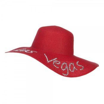 Las Vegas Rhinestones Sun Hat - Red